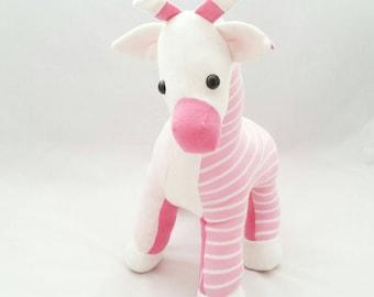 giraffe keepsake animal, baby clothing stuffed animal, parent's keepsake, keepsake baby gift, soft animal, handmade giraffe, baby's nursery