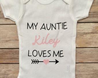 My Aunt Loves Me Baby Onesie®, Newborn Onesie® ,Baby Shower Gift, Baby Girl Gift, Baby Girl Outfit, Aunt Baby Gifts, Aunt Onesie®, Auntie