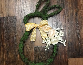 Spring Easter Wreath Grassed Covered Bunny Wreath 24in by 12in by 2in