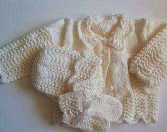 Crochet Clothing Set Cardigan Bonnet Booties Cream