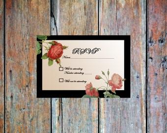 Custom Printable Vintage Flowers RSVP Card