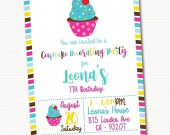 Cupcake Invitation, Cupcake Invite, Cupcake Decoranting Invitation, Cupcake Birthday, PRINTABLE