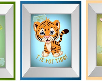Printable Digital Graphic Download / Monkey,Tiger,Giraffe, Animal Alphabet
