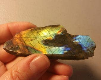 Labradorite specimen rock 23.5g one side polished natural rough - beautiful rainbow piece