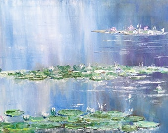 Lily Pond Painting Oil / Water Lilies Painting on Canvas / Pond Painting on Canvas / realtor housewarming gift