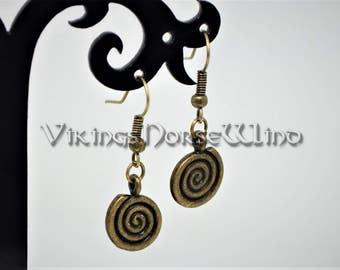 Wicca Earrings, Spiral Earrings, Tribal Earrings, Bronze Pagan Earrings, Spiral of Life Earrings, Tibetan Silver Gothic Wicca Amulet