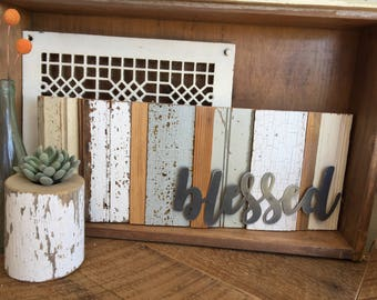 Blessed reclaimed wood and metal sign