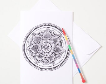 Greeting Card - Colour In / Mandala