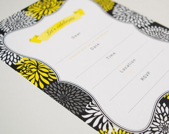 Invitations Blank - Chrysanthemum / Yellow
