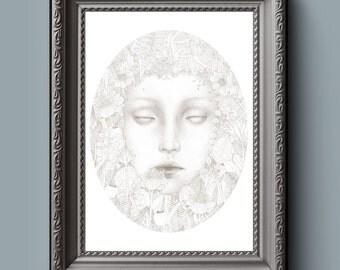 "Secret Garden 12x16"" Digital Illustration Instant Download Print"