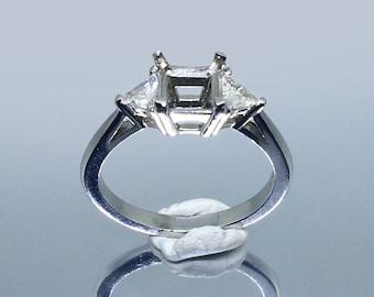 505 Rare trilliant cut side stones. Diamond Engagement Ring. Suits princess cut centre