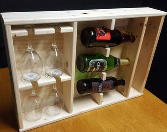 Rustic wine and glass display unit