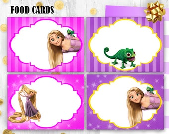 Rapunzel Food cards Table cards Tangled Place Cards Printable digital food tents Table decor