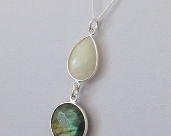 Sterling Silver Multi-Shaped Drop Pendant featuring Moonstone & Labradorite with a Sterling Silver Necklace