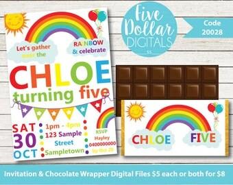 Rainbow Party Personalised Digital Birthday Invitation & Chocolate Candy Bar Wrapper