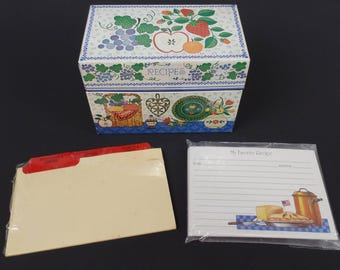 Vintage Hallmark Tin Recipe Box Scandinavian Style Fruit Flowers Includes Dividers Some miss matched Recipe Cards Has Scratches