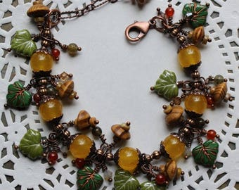"""Green leaf bracelet with pale golden yellow glass beads, copper caps and accents,wood """"acorns"""",carnelian """"berries"""" copper lobster clasp,B019"""