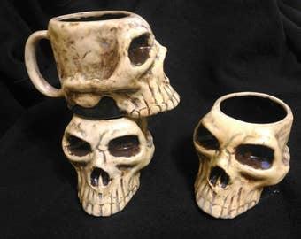 Stoneware Skull Mug Handmade  12oz.