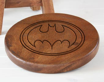 Personalised Wooden Stool, Wooden Name Stool, Batman Stool, Kids Stool, Child's Stool, Wooden Batman Stool, Batman Design Stool