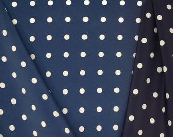 Midnight Navy And White Spotted Fabric