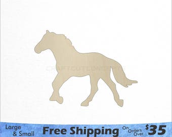 Horse Shape - Large & Small - Pick Size - Laser Cut Unfinished Wood Cutout Shapes (SO-0030)