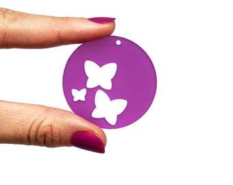 Butterfly big pendant jewellery supplies x5, Butterflies bijoux, Butterfly charms, Butterfy earrings, Butterfly laser wood plexiglas-SET 5pz