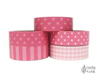 5 Washi tape pink tones points star heart stripes Plaid (AO-1)