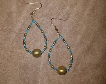 Blue, bronze, and gold dangles