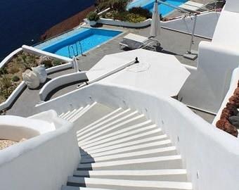 Santorini Greece Photography -white stairs - vertical- Wall Art- - Digital Download - Instant Download-Decor Mediterranean-Digital poster