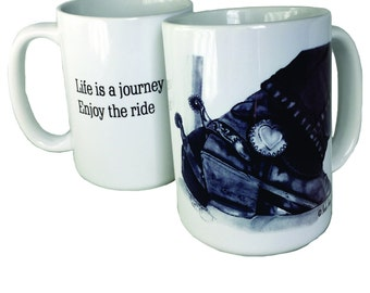 "Coffee mug titled ""Spectatin' Boots and Spurs"" for the horse lover"