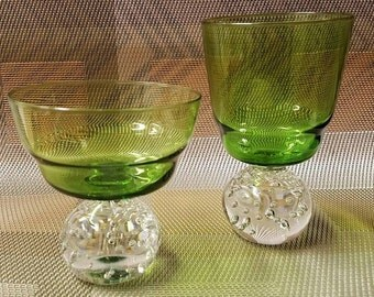 Carl Erickson Emerald Controlled Bubble (1) Sherbert and (1) Goblet  Art Glass Hand Blown & Polished