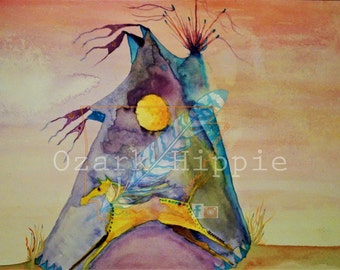 Dwelling on The Plains ~  12 x 18 Original Watercolor_ Native, tipi, Muticolored, Horse.