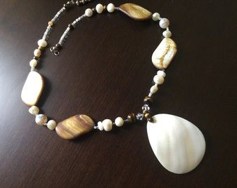 Tumbled shell and freshwater pearl necklace