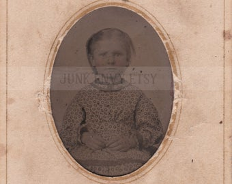 Antique Tintype Photograph . Civil War Era Portrait of a Child . Digital Download . High Resolution Scan