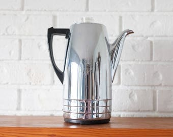 Vintage Chrome Sunbeam Art Deco Coffee Percolator