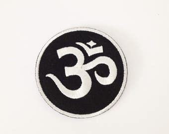Om applique patch Black and white Om iron on patch