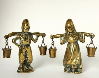 Vintage - Brass Boy And Girl Carrying Water Jack And Jill Nursery Rhyme c1940's 50's