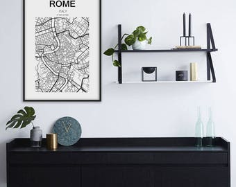Rome Map Print, Rome City, Italy Map, Italia, Roma, Mappa Roma Italia, Rome Italy Map, Rome, Black and White Map