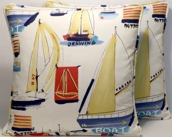 "Boat Decorative Throw Pillows Set of 2 18"" Hi Seas 11 Multi Sailboat Coastal Blue Cream Designer Throw Pillows with forms Accent Pillow"