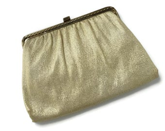 Gold Lame Evening Bag by Harry Levine, Wedding Handbag, Gold Metallic Bag Purse for Prom, Gold Convertible Clutch, Formal Wear, Bridal Purse