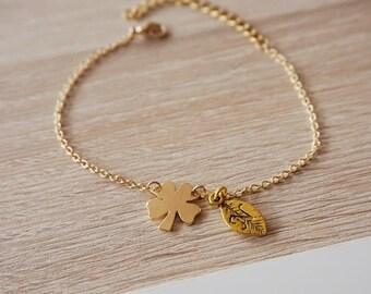 Bracelet original, gold plated, clover necklace, necklace, bridesmaid gift friend sister