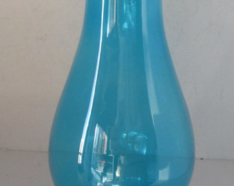 """Marine Blue Glass frill top chimney for oil  lamps (2 1/2""""fitter )"""