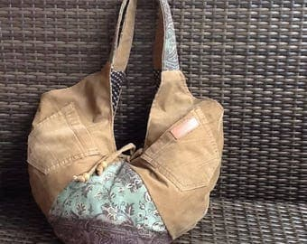 Bag hobo recycling jeans combined with stamped cotton fabric