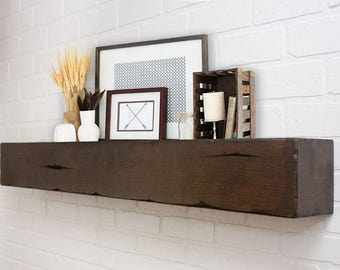 Floating Shelf Mantle - Barn Wood Style Beam - Tobacco