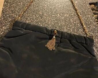 Vintage Black Satin Handbag