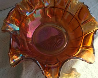 Vintage Carnival Glass Ruffled Edge Bowl