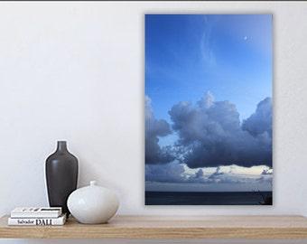 Ocean Sunset Moon and Clouds, St John, US Virgin Islands, Large Ocean Print, Oversize Wall Art, USVI, Blue, Navy, White, Natural Photography