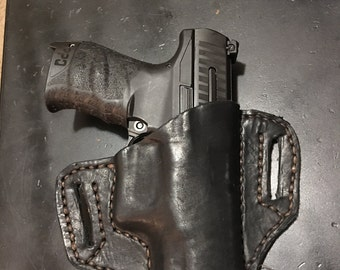 Leather Walther PPQ 9mm saddle hip holster