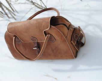 Vintage/Retro Morrocan Genuine Leather Duffle Bag - Weekender Gym Bag