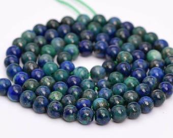 """4MM Azurite Natural Gemstone Full Strand Round Loose Beads 15"""" (101112-321)"""
